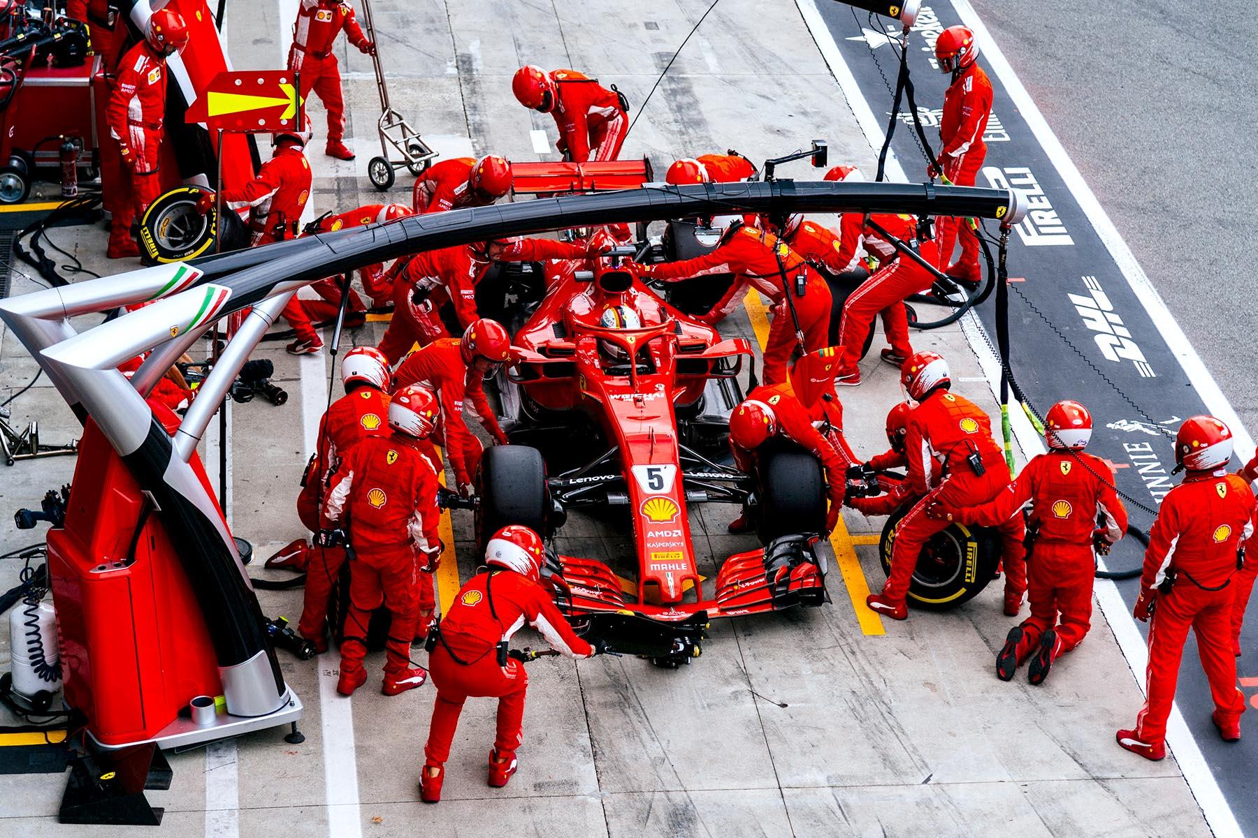 Sebastian Vettel in his pit box at the 2018 Italian Grand Prix.