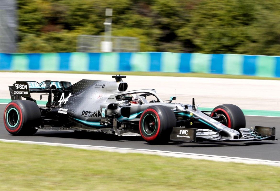 Lewis Hamilton on track at the Hungarian Grand Prix.