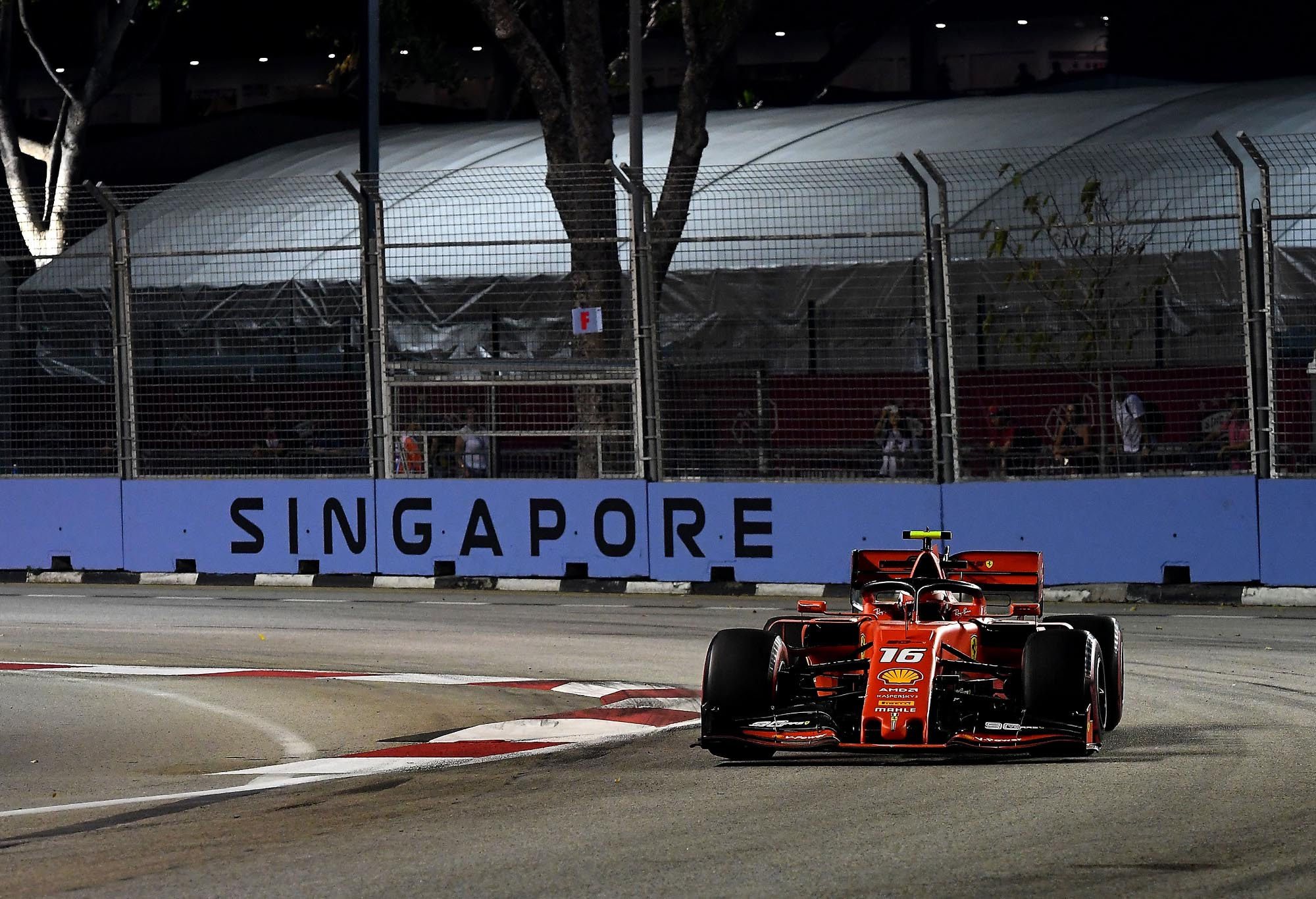 Charles Leclerc on track at the Singapore Grand Prix