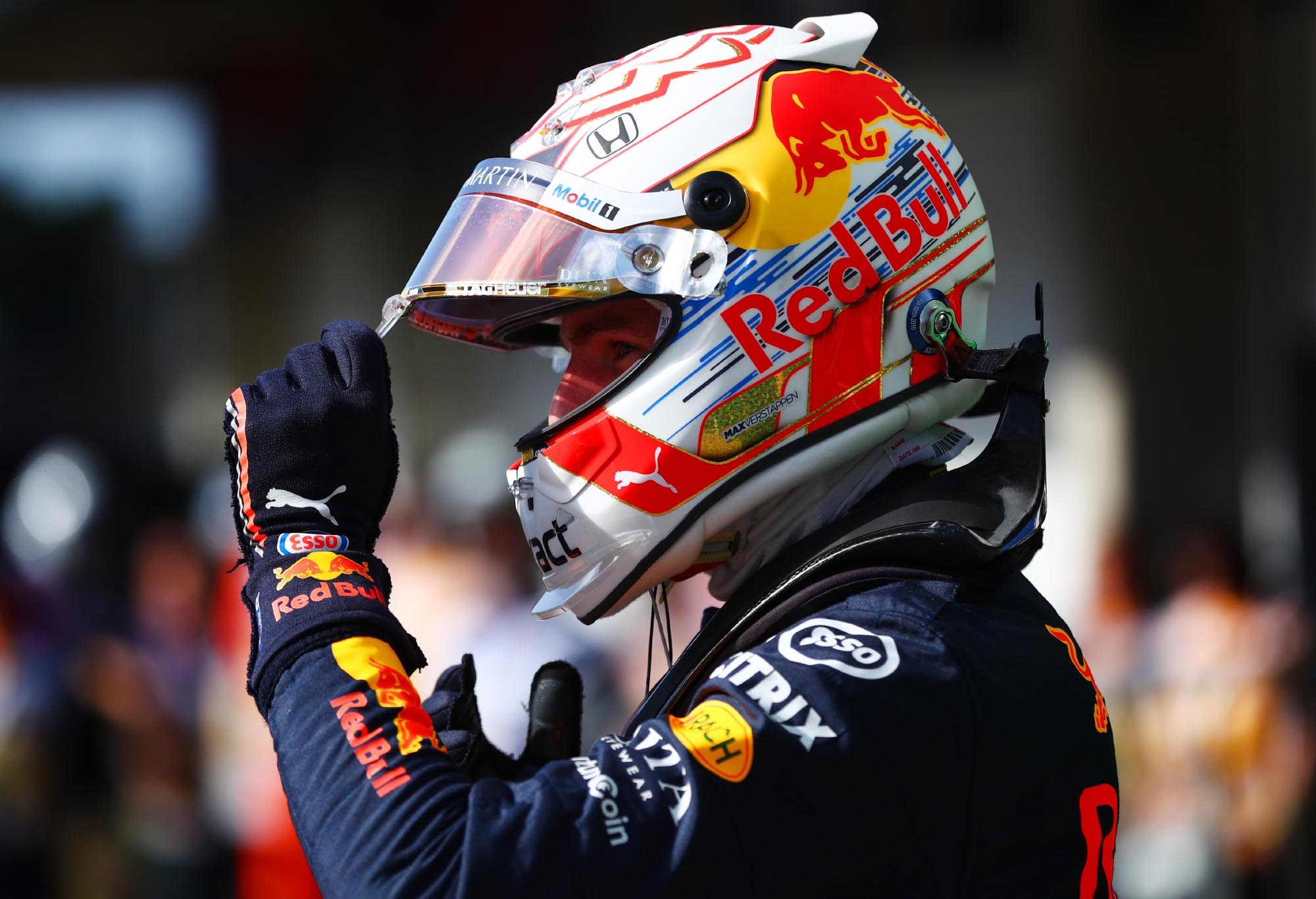 Max Verstappen celebrates pole at the 2019 Brazilian Grand Prix