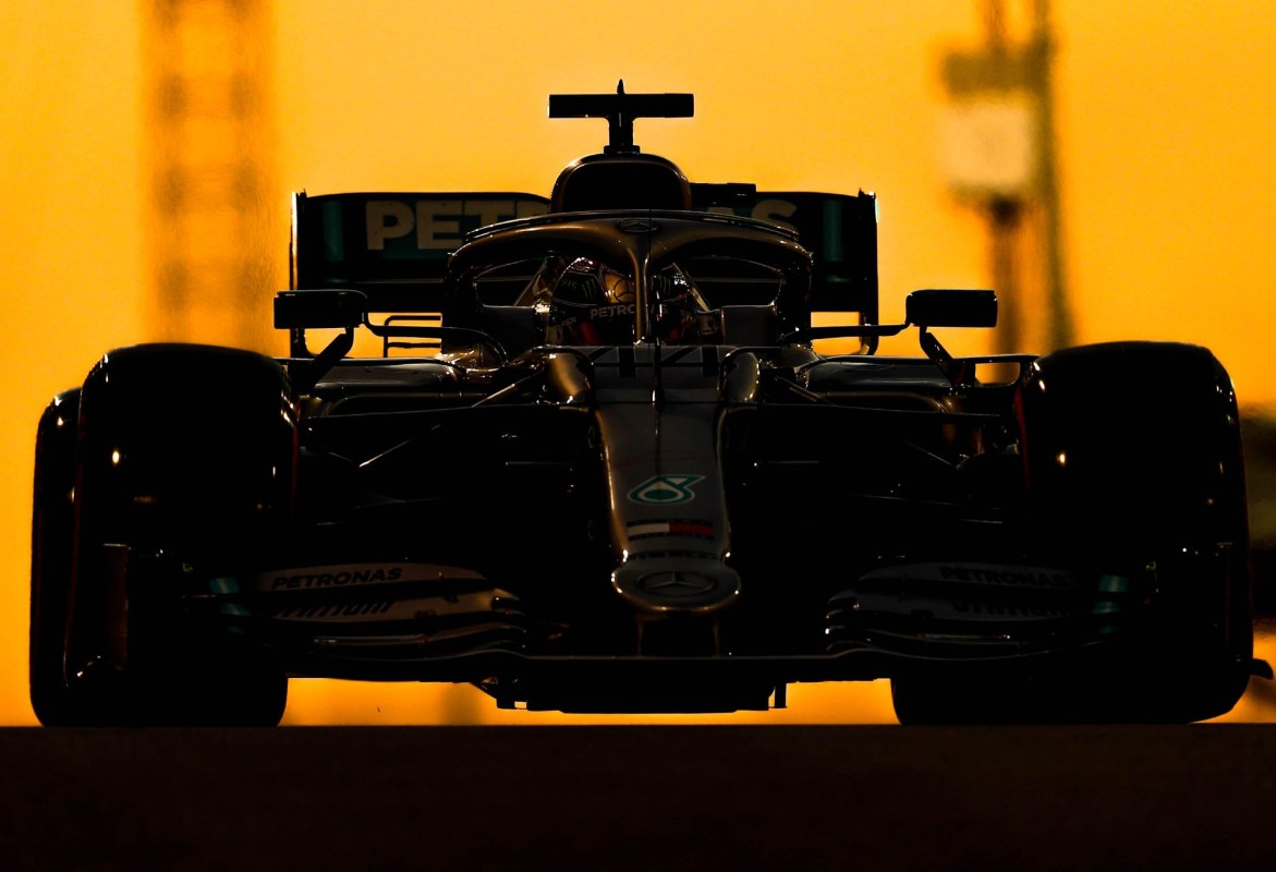 Lewis Hamilton on track as the sun sets at the 2019 Abu Dhabi Grand Prix.