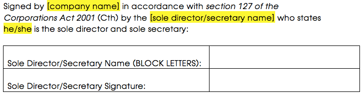 Signature block for an agreement signed by a sole director