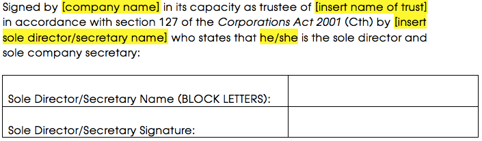 Signature block for a corporate trustee with a sole director