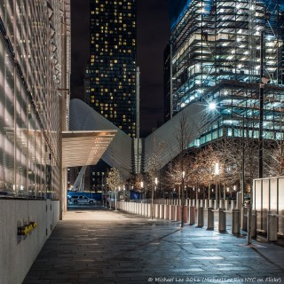 View from outside One WTC of the Oculus and 3 WTC construction