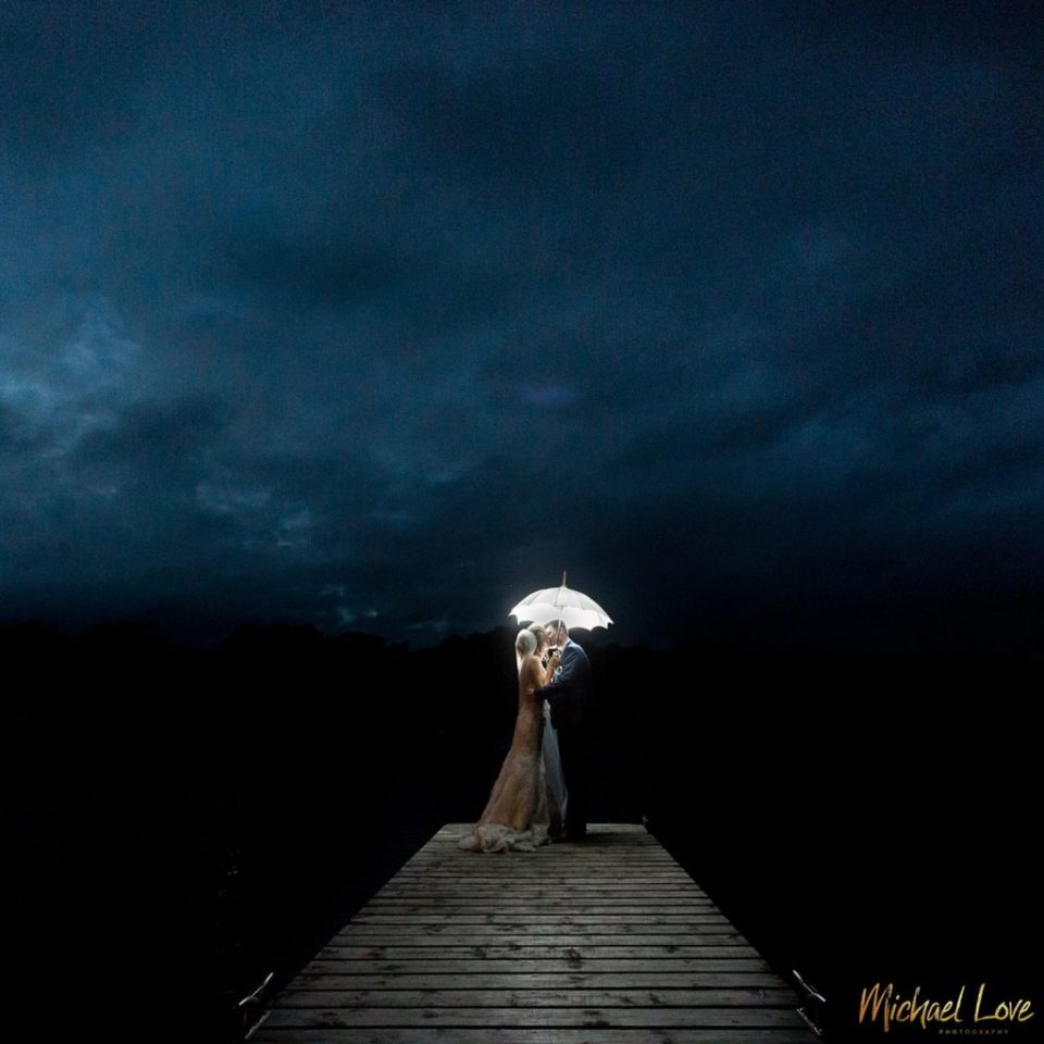 Wedding couple photo at night time
