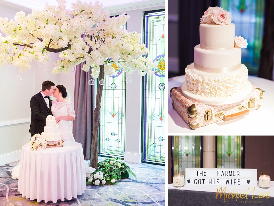 Collage of bride and groom cutting their wedding cake at Everglades hotel