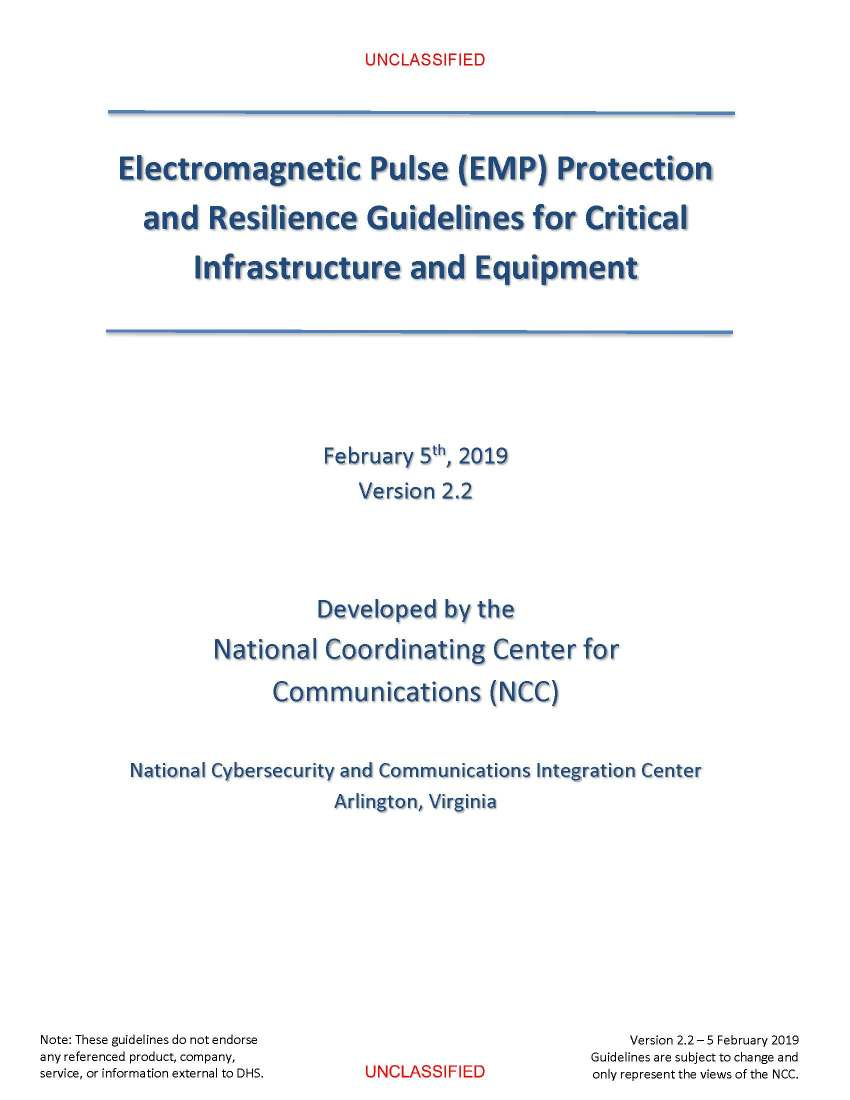 Electromagnetic Pulse (EMP) Protection and Resilience Guidelines for Critical Infrastructure and Equipment