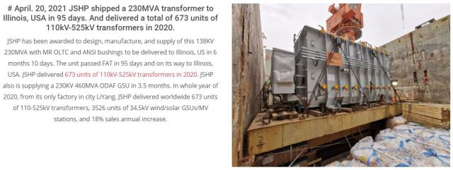 U.S. Electric Grid Continues to Import Chinese Transformers in 2020 and 2021