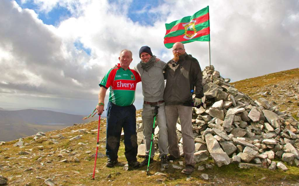 Mayo Flag Planted on top of Mount Errigal in County Donegal