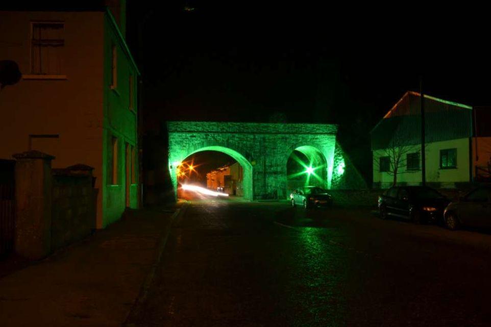 Swinford Railway Bridge lit up green for St Patrick's weekend 2013.