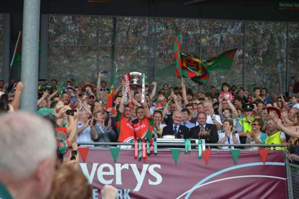 Keith Higgins and Andy Moran lift the Nestor Cup for the 3rd year in a row.