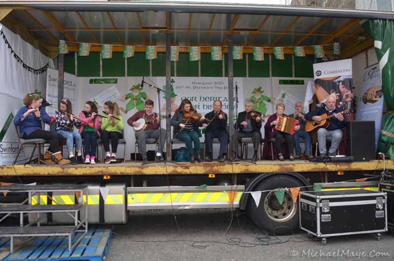 Swinford comhaltas playing at Swinford st Patrick's day parade 2015