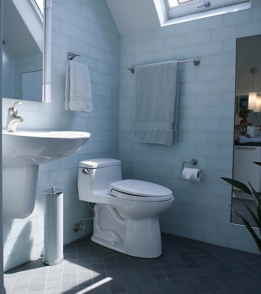bathroom well lit with skylights