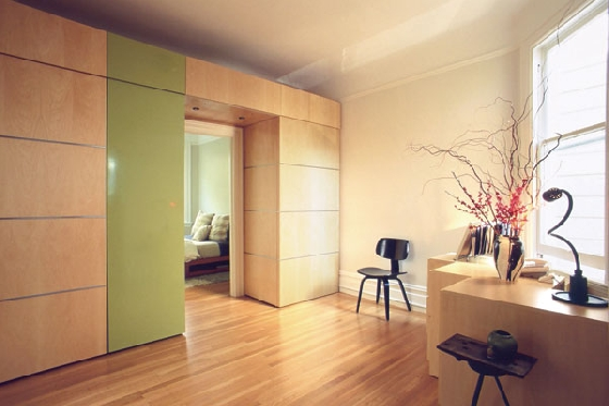 An office with sliding panels