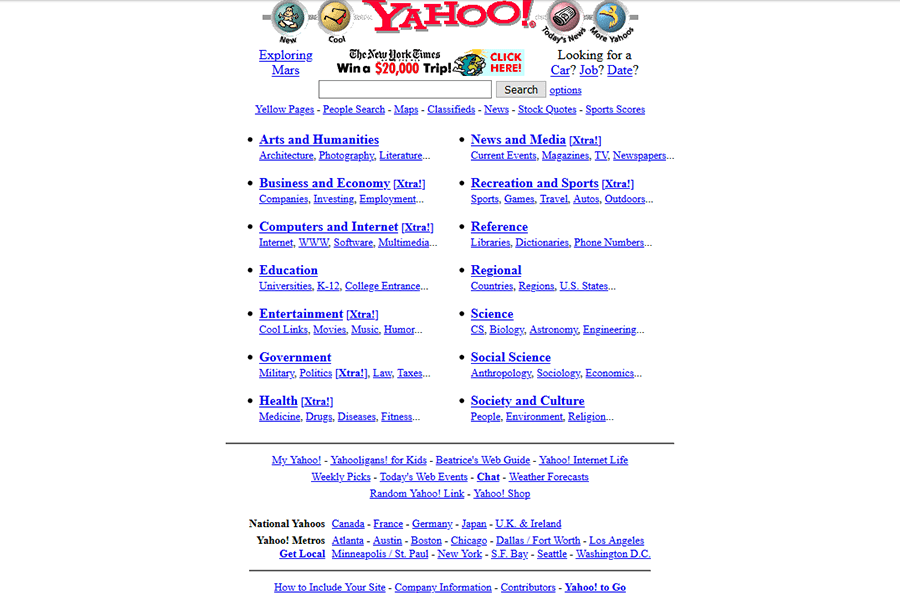 An image of Yahoo's website from 1997