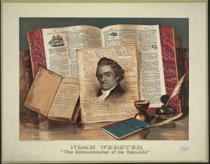 """English: """"Noah Webster, The Schoolmaster of the Republic,"""" print by Root & Tinker. Courtesy of the Library of Congress, Division of Prints and Photographs Online. http://www.loc.gov/pictures/item/2003680822/?sid=ed9af5f8c1822c65772ea1b4185054d0 (Photo credit: Wikipedia)"""