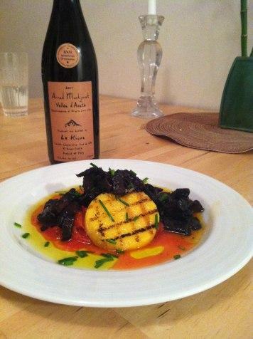 Grilled Polenta, sauteed mushrooms and Nebbiolo