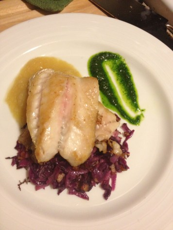 Blackfish with red cabbage
