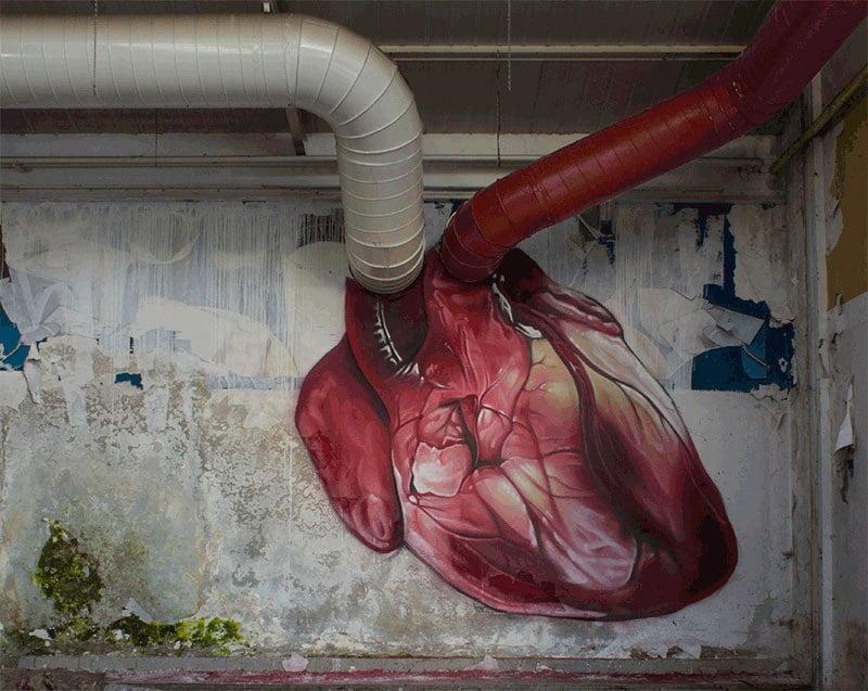HeArtbeats, hearth street art by lonac