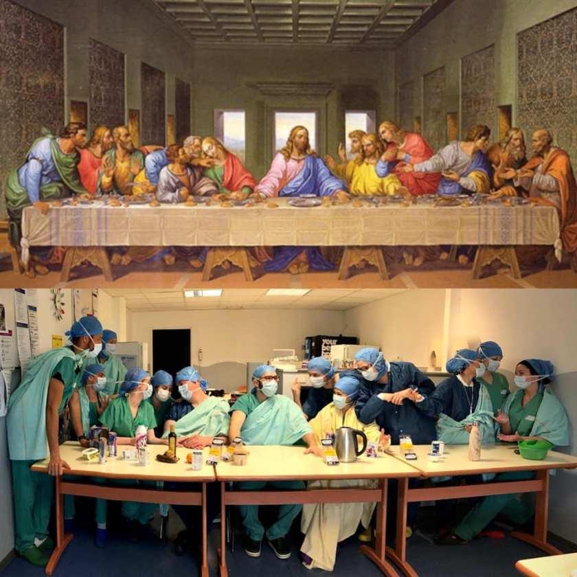Het Laatste Avondmaal door zorgmedewerkers van het hopital-de-la-salpetriere