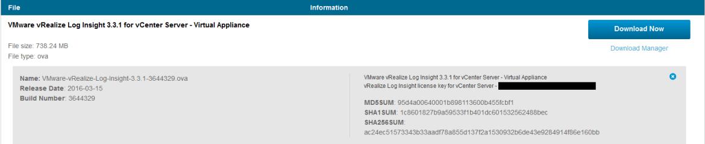 LogInsight for vCenter Server License Key