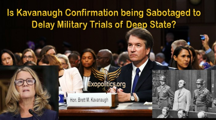 Kavanaugh Trial Sabotaged to Delay Miliary Trials of Deep State