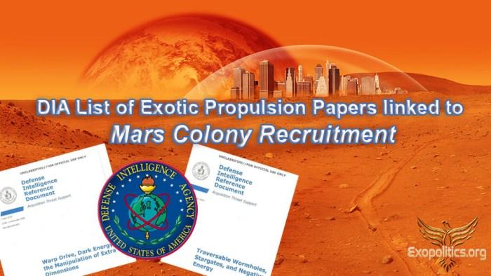 dia docs and mars colony recruitment