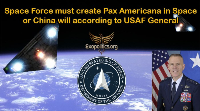 Space Force must create Pax Americana in Space or China will according to USAF general