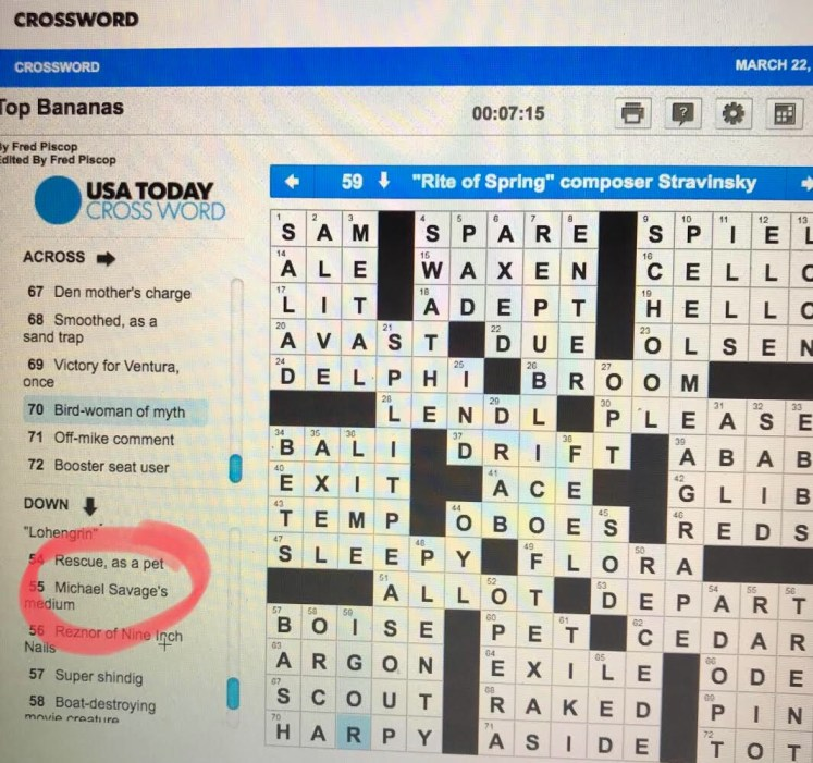 Savage Featured In The Usa Today Crossword The Savage Nation