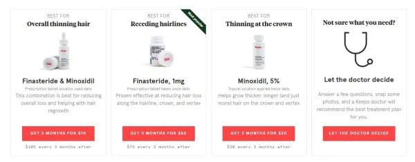 Keeps.com: Finasteride for $25/month