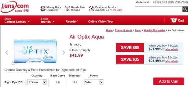 Air Optix Aqua - $41.99 per box