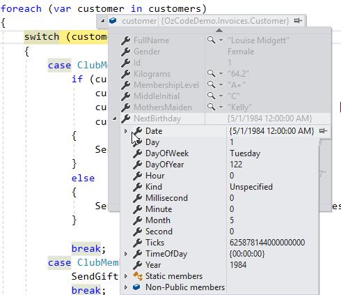Visual Studio Debugger's data tip