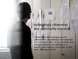 This great unmooring needn't be fatal; it can be productive if we seek (actively) to redefine citizenship and community orientation. How do we do this at scale in distributed models? How do we model this ourselves as academics?