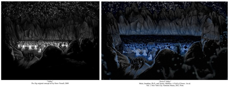 Pwin-T Valley concept art from The Dig by Michael Siemsen
