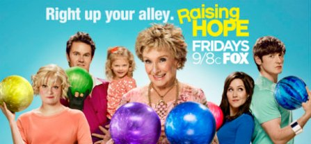 Cloris Leachman with Raising Hope cast