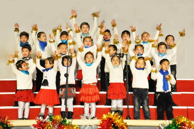 First graders perform at the Zibo Century Talents Foreign Languages School annual Christmas program. Zibo, Shandong, China.