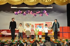 "Curtain call for ""Happy Birthday"" at Zibo Century Talents Foreign Language School in Zibo, Shandong, China."