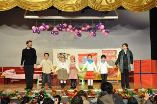 """Curtain call for """"Happy Birthday"""" at Zibo Century Talents Foreign Language School in Zibo, Shandong, China."""