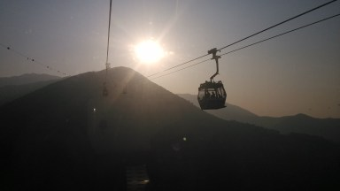 En route to the Big Buddha at Ngong Ping, Lantau Island, in Hong Kong