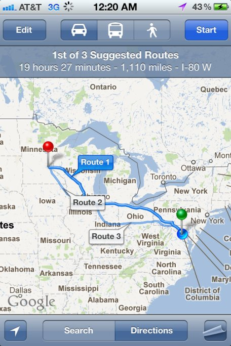 Route from MPLS to WDC for Thumbs Up in the Capital Fringe Festival.