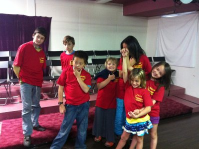Students after a performance at Harmony Theatre Company and School in St. Louis Park, MN, USA.