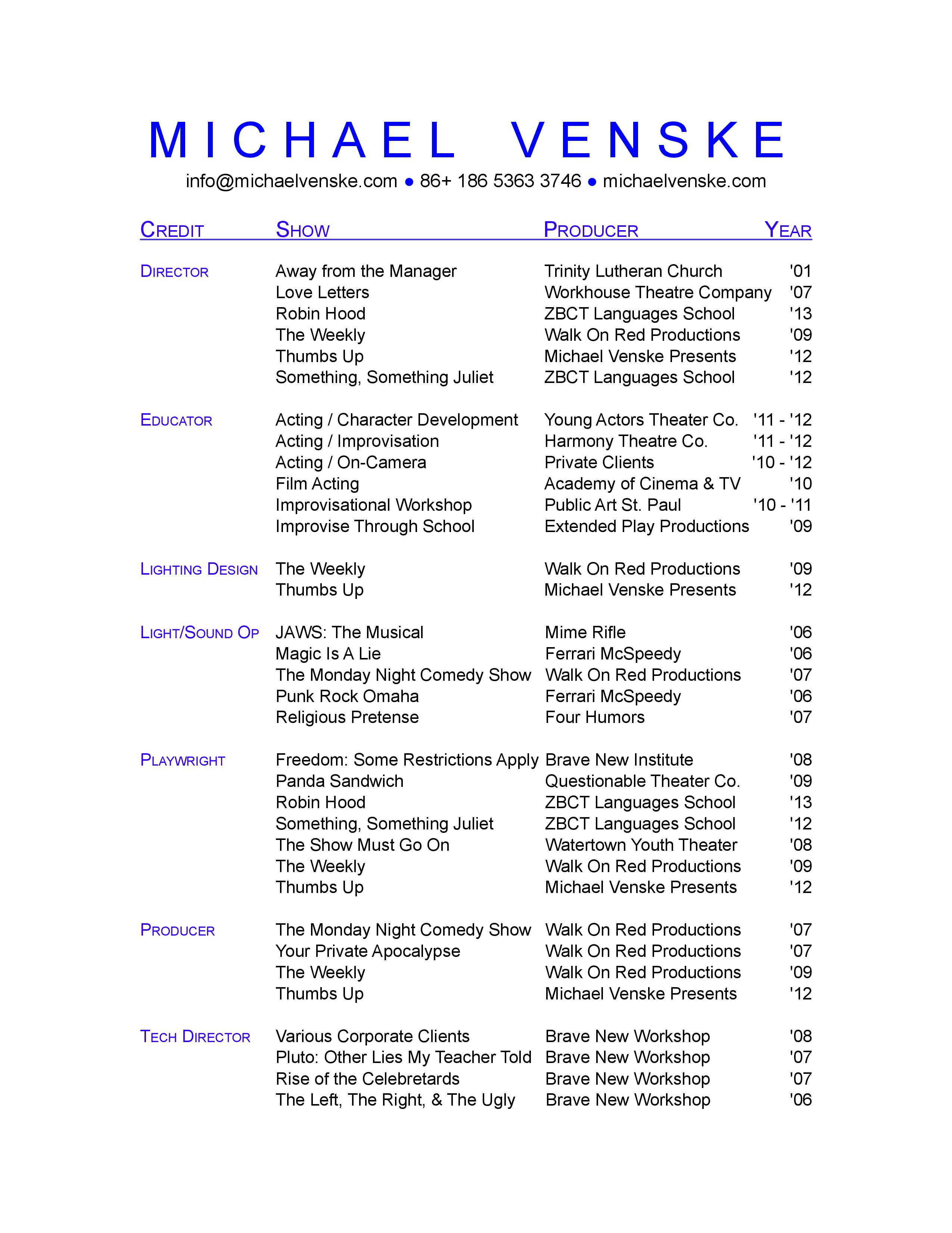 1000 Images About Resume Examples On Pinterest Theater