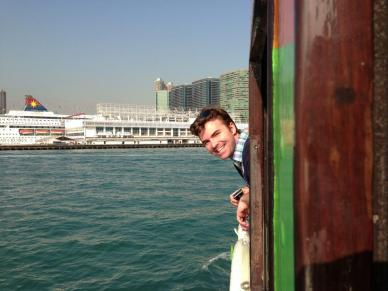 Crossing the harbor in Hong Kong