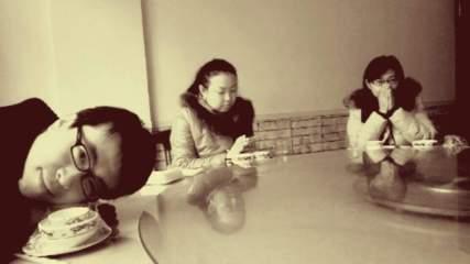 Alex, Maggie, and Kellend. Hear no evil, see no evil, speak no evil. Zibo, Shandong, China.