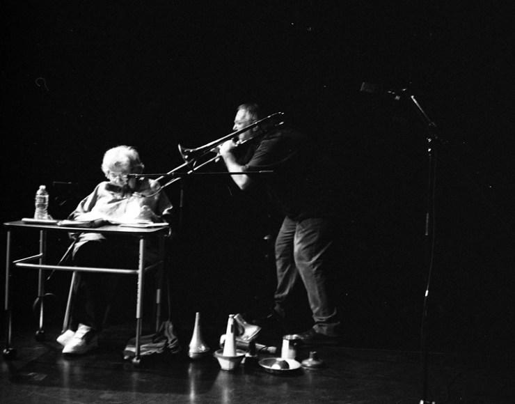 Dottie Grossman (poems) + Michael Vlatkovich / August 23, 2o10 Albuquerque photo by Mark Weber