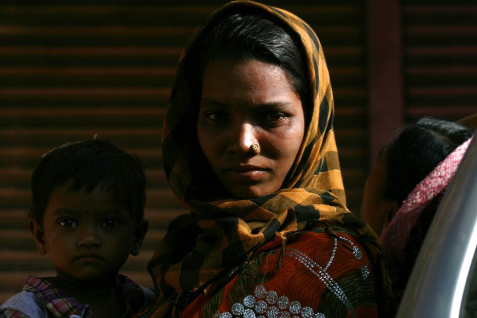 woman in a rickshaw