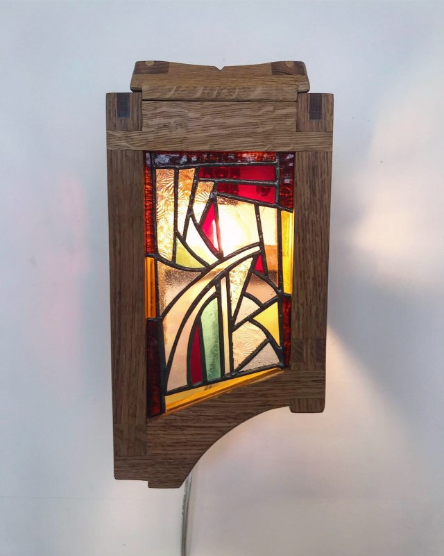 White Oak Lamp with Stained Glass