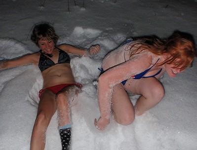 Después de la sauna, a la nieve