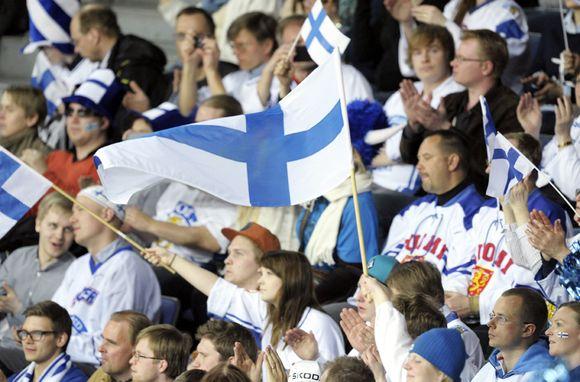 Seguidores finlandeses en hockey