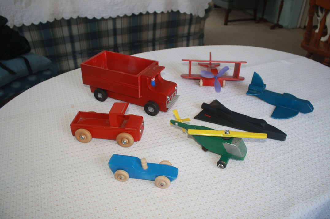 Allison (Tom) – Wooden Toys of Dump Truck, Pickup Truck, Racer, Helicopter, Airplane